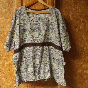 Tafford green paisley womens 4X scrub top